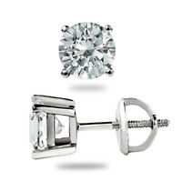 0.50Ct Solitaire Diamond Stud 18K Solid White Gold Earrings Certified Hallmarked