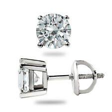 0.50 Ct Solitaire Diamond Stud 18K Pure White Gold Earrings Valentine Offer Sale