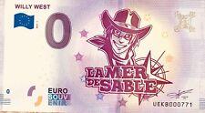BILLET 0 EURO SOUVENIR TOURISTIQUE  WILLY WEST LA MER DE SABLE  2018