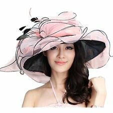 c5799163d1b June s Young Women Sun Hat Wide Brim Fashion Beach (Peach black)