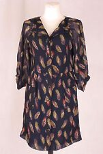 MOODS OF NORWAY Womens Navy Blue Dress Cardigan Long Sleeve Sheer Feather 34 XS