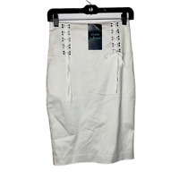 Guess Womens White Skirt (New)  Size: 2   Front Tie Pencil Skirt
