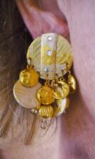 "VTG-1990's-Paper Gold & Silver Tone ""MOON & STARS"" Dangle Chunky Earrings N/R"