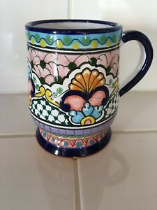 Talavera coffee tea hot chocolate mug Hernandez, Pue, Mexico ~5 inches