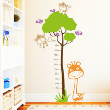 Pegatina pared dormitorio infantil Cinta métrica jirafa Monito y Pájaros