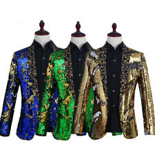 Men Reversible Two Tone Glitter Sequins Cardigan Jacket Suit Stage Costume Coat