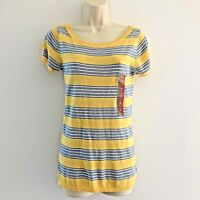 Mossimo Women's Medium Top Knit Scoop Neck Puff Sleeve Striped Yellow Blue White