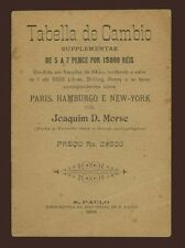 Tabella De Cambio Supplementar 1898 Brazil Sao Paolo rèis portougal economia