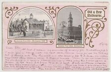 VICTORIA - 1903 vintage postcard showing Old & New Melbourne Post Offices.