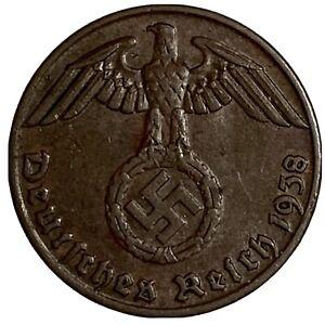 1938-J Germany 3rd Reich 1 Pfennig Coin w/ Swastika (L965)