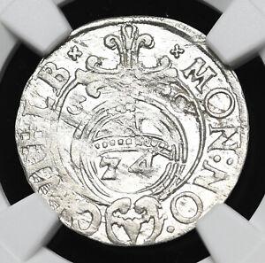 POLAND. Gustavus Adolphus, 1630, Silver 1/24 Taler (3 Polker), NGC MS62