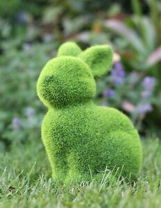 Garden Ornament Rabbit Bunny Animal Flocked Grass Effect Outdoor Sculpture