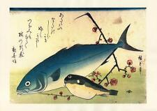 Japanese Reproduction Woodblock-Fishes #79 by Ando Hiroshige on Parchment Paper