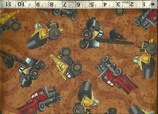 Quilting Treasures ~ Tonka Construction Truck ~ 100% Cotton Sew Quilt Fabric BTY