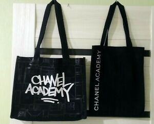 2 X Chanel *Academy* black textile makeup bag pouch tote bag Rare VIP GIFT LE