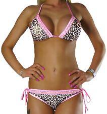 Damen Neckholder Bikini Set Top Hose Leopard Leo Rosa Spitze Gr. XS S M L NEU