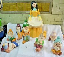 Rare!- Early Disney Snow White Garden Statue & The 7 Dwarfs Enameled Porcelain