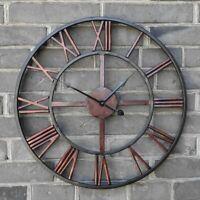 3d Rétro Romain 47cm Forgé Creux Fer Vintage Grand Muet Horloge Murale Maison