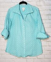 Chicos size 1 Small S Blue White Wrinkle Free Dress Shirt Top 3/4 sleeves