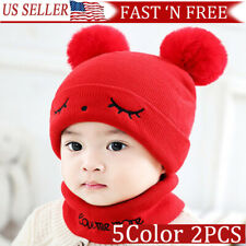 Toddler Kids Baby Boy&Girl  Infant Hat Winter Warm Crochet Beanie Cap Scarf Set