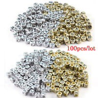 100pcs Square Round Alphabet Letter Acrylic Spacer Beads With Hole DIY Jewelry