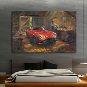 Home Wall Art Print Decor Canvas Painting Alan Fearnley Retro Car Ferrari 16x24