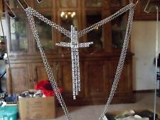Necklace Silver Tone rhinestone crystal dangle pendant cross Signed PJM