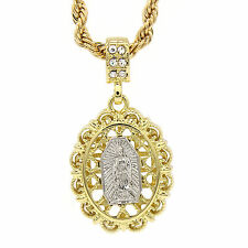 "Men's Hip Hop Gold plated Cage Virgin Mary Cz Pendant 4mm 24"" Rope Chain TCH"