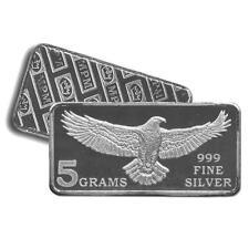 100 - 5 Gram 999 Fine Silver Bars - Monarch - Eagle Design - Uncirculated