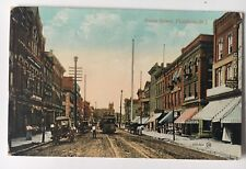 1909 NJ Vintage Postcard Plainfield New Jersey Front Street trolley stores horse