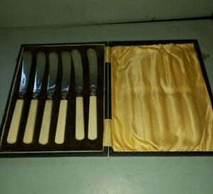 6 x EPNS BLADED BUTTER KNIVES in PADDED CASE - with Cream Handles