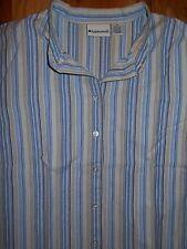 Blouse 1X Appleseeds Womens 14-16W Shirt Blue Tan Stripes Top 4s397
