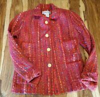 Carlisle Red Mohair Wool Blazer Jacket Womens 4 Small EUC