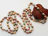 "Beautiful Vintage 50"" Faux Baroque Pearls Pastels Flapper Length Necklace"
