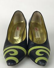 Mondi Womens Vintage 80's 90's Retro Blue Green Swirl Pointy Toe Pumps Shoes 7