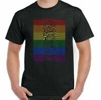 LGBT T-Shirt, Mens Joy Division Unknown Pleasures Rainbow Colours Gay Pride Top