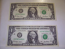 CONSECUTIVE US ONE DOLLAR FEDERAL RESERVE NOTES 2 BILLS 2001 H 57873392-93 C