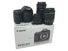 NUOVO Canon EOS 80D + 18-55mm, 55-250mm e 50mm Lens UK consegna il giorno successivo