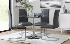 Orbit Round Glass & Chrome Dining Table - with 4 Perth Grey Chairs