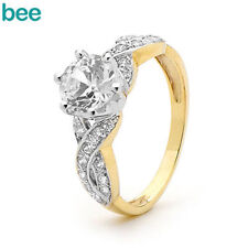 Cubic Zirconia Solitaire Yellow Gold Engagement Rings