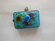 Antique Chinese Gilt SILVER Enamel Crab Locket Snuff Pill Box Pendant