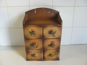 Vintage 6 Drawer Wooden Wall Mount Sewing Notions Box - Japan