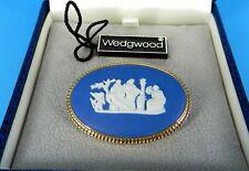 WEDGWOOD MADE IN ENGLAND BLUE JASPERWARE BROOCH / PIN CUPID NEW IN BOX