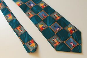 Vintage Disney AA Milne Winnie The Pooh Green Tie *Collectable Great Gift Idea*