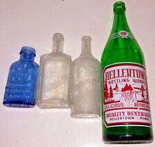 Lot of 4 Vintage Glass Bottles Hellertown Ed Pinaud Paris Zemo Milk of Magnesia