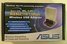 ASUS SpaceLink WL-140 IEEE802.11b 11Mbps Wireless USB Adapter New