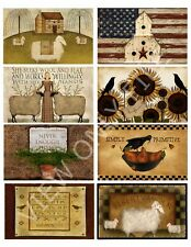 8 Primitive Hang Tags Sheep Crows Journal Cards Labels Scrapbooking (28)