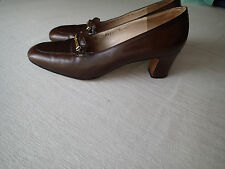 SALVATORE FERRAGAMO shoes sz 7 b   brown logo  c  ,