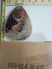 FREE US SHIPPING ok touch lamp replacement glass Panel Deer in the Woods 603-DE4