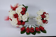 Red and Ivory Wedding Bouquet Bundle with Feathers and Diamante - Bride